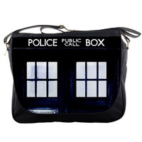 "Doctor Who Tardis Closeup 14"" Messenger Laptop Notebook Tablet Computer School Sling Shoulder Bag Handbag Tote Custom Made"