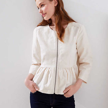 Peplum Zip Jacket | LOFT