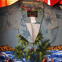 Amazing Vintage Hawaiian COLLECTION RESERVE Shirt Vintage Bikes  Size L Made in USA