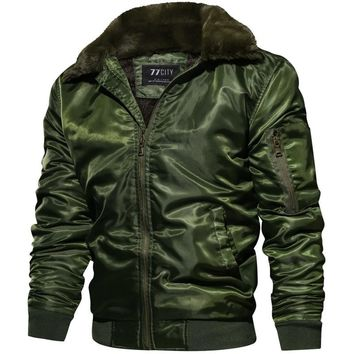 Trendy New Autumn Winter Jacket Men MA1 Tactical Pilot Bomber Jacket Men Warm Military Jacket Fur Collar US Size Army Air Force Coats AT_94_13