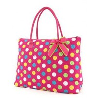 XL- Hot Pink Multi- Polka  Extra Large Tote Bag  - Make-Up, Totes and Duffle Bags   |  Shop Glitzy Glam