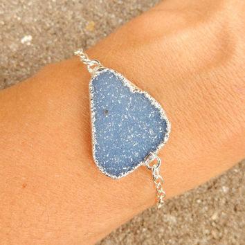 Blue Druzy Bracelet Freeform Quartz Crystal Drusy in Silver - Free Shipping Jewelry