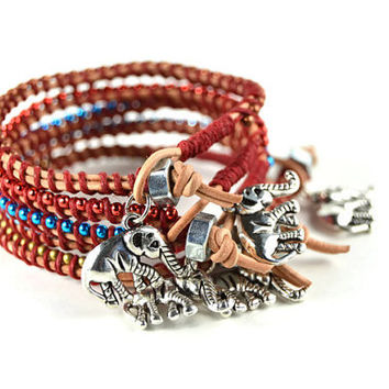 Charity Bracelet, Leather Bracelet with Elephant Charm, Layering Elephant Charm Bracelet, Single Wrap Bracelet, Leather Bracelet