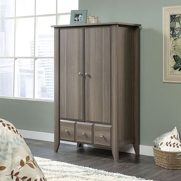 Bedroom Wardrobe Armoire Storage Cabinet in Ash Wood Finish