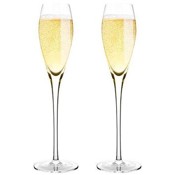Hand Blown Crystal Champagne Flutes  Bella Vino Standard Champagne Glasses Made from 100 Lead Free Premium Crystal Glass??????Perfect for Any OccasionGreat Gift 105quot 7 Oz Set of 2 Clear