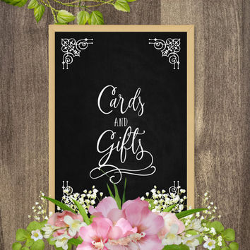 Cards and gifts sign, Wedding gift table sign, Cards sign, Wedding gifts sign, Country wedding decoration, DIY wedding reception decorations