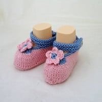 Cute Baby Booties,  Booties,Hand Knit  Booties, Pink and Blue Booties, Flower Booties, Baby Slippers, Sandals, UK Seller