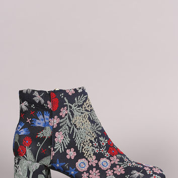 Floral Embroidered Block Heeled Booties | UrbanOG