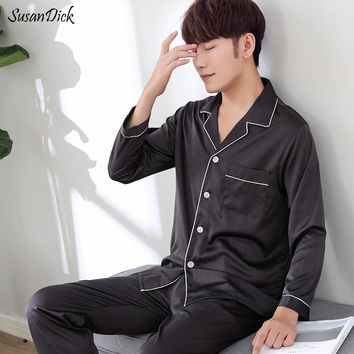 SusanDick 2017 Men Nightwear Long Sleeve Soft China Silk Pajamas 2 Piece Set Summer Autumn Pyjama Homme Man Satin Sleepwear Sets
