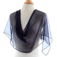 Dark blue chiffon scarf, naturally dyed scarf, transparent scarf, logwood dyed shawl, midnight ink blue silk scarf, christmas gift for her