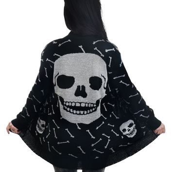 Too Fast Glitter Bones Long Black Over Size Cardigan Silver Bones Large Skull