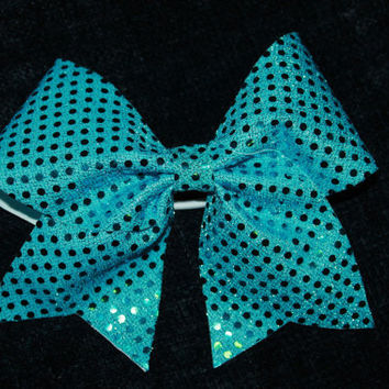 Blue, sequin cheer bow