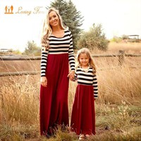 Mother Daughter Dresse 2017 Autumn Styles Full sleeve Family Matching Outfits Striped