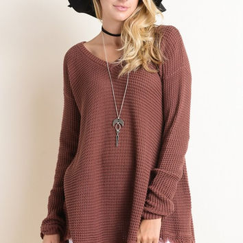Fringe Pullover Sweater - Dark Brick