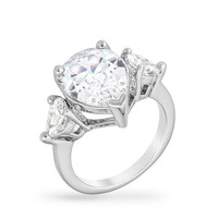 Cubic Zirconia Pear Triplet Ring, size : 09