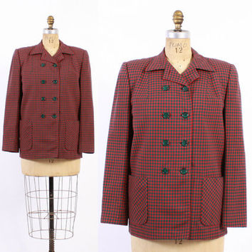 Vintage 40s JACKET / 1940s Red & Green Plaid Gabardine Double Breasted Check Wool Gab Jacket M