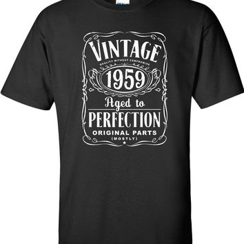 55th Birthday Gift For Men and Women - Vintage 1959 Aged To Perfection Mostly Original Parts T-shirt Gift idea. More colors available S-9