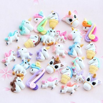 30/50/100 pcs Unicorn Blessing Bag Set DIY Resin Accessories Slime Filler  for Phone Cover  Making Art DIY Craft New Mint Green
