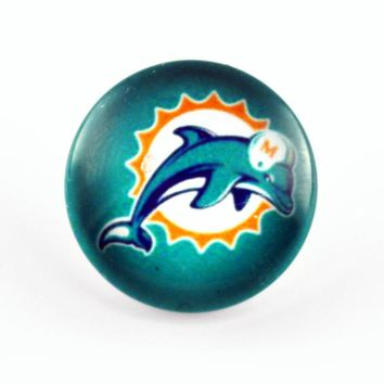 Hot New Miami dolphins Football Team Glass Sports Snaps Charms 18mm Snap Buttons Fot Snap Bangle DIY Accessory Jewelry 20pcs/lot