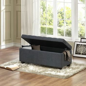 Colusa collection neutral gray fabric upholstered storage ottoman bench with tufted seat