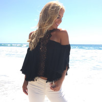Mirage Crochet Blouse In Black
