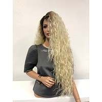 """Blond Ombre Swiss Lace Front Wig 28"""" 