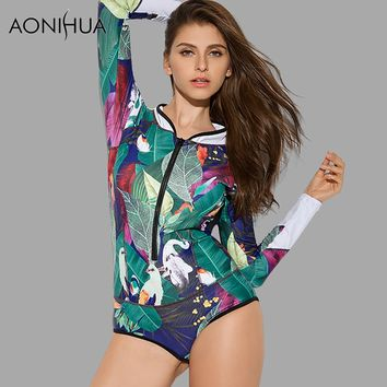 AONIHUA 2018 Design Art Printing Swimsuit Women Leaf Birds One Piece Swimwear female Push up Long sleeve swimming Suit 9012