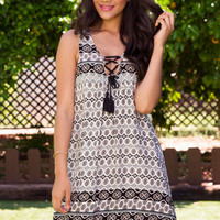 Seville Lace Up Dress - Black