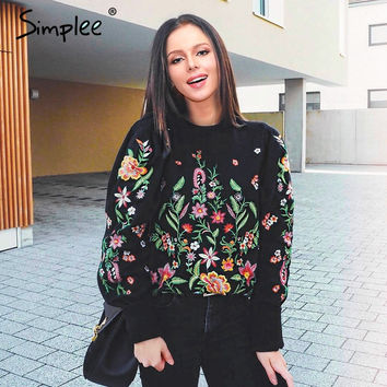 Embroidery flower hoodie sweatshirt women jumper Long sleeve pullovers Casual O-neck tracksuit 2017 summer streetwear