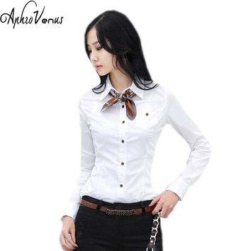Shirts Women Tops And Blouses 2016 New Fashion Top Femme  Turn-Down Collar Long Sleeve Big Sizes A White Blouse