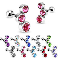 3 Gem Cluster Cartilage Barbell