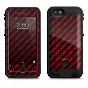 The Glossy Red Carbon Fiber  iPhone 6/6s Plus LifeProof Fre POWER Case Skin Kit