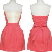 TRIXXI Coral Strapless Color Block Dress W/ Pockets