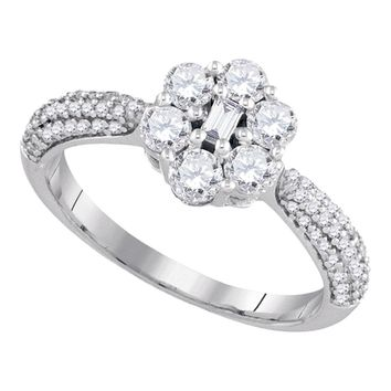 10kt White Gold Womens Baguette Round Diamond Cluster Ring 1.00 Cttw