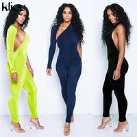 Kliou women sexy jumpsuits 2018 new arrival solid Fluorescence one shoulder full sleeve female skinny rompers jumpsuits bodysuit