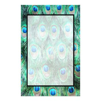 Peacock Feathers Exotic Wild Watercolor Pattern Stationery