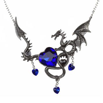 Vintage Silver Ancient Dragon Heart Shaped Blue Saphire Necklace