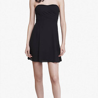 Black Strapless Crepe Fit And Flare Dress from EXPRESS