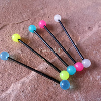 1 pc- 14g Glow In The Dark Bio Flex Industrial Barbell Helix Ear Piercing Cartilage SALE