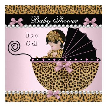 Baby Shower Cute Baby Girl Pink Leopard Bow Invites from Zazzle.com