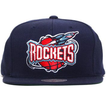 Houston Rockets Wool Solid Snapback Hat Navy