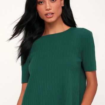 Casual Aesthetic Forest Green Ribbed Knit Split Back Sweater Top