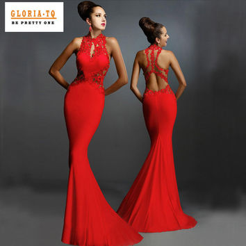 2017 New Women Formal Bride Dresses Red Open Back Floor Length Fashion Dress Fishtail Sexy Elegant Floral Lace Maxi Dresses