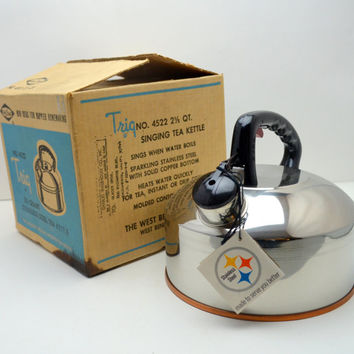Vintage West Bend Singing Tea Kettle, Trig No 4522, 2.5 Quart, Stainless Steel, Solid Copper Bottom, New in Box, circa 1970s