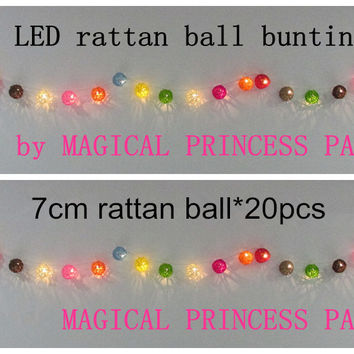 AC 110V/220V 7cm multi colored cane rattan ball style fairy led light string/party bunting 2.5m/20 bulbs decoration light