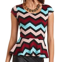 CHEVRON PONTE PEPLUM TOP