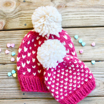 Fair Isle Pom Hats, Mommy and Me Hats, Mommy and Baby Hats, Chunky Knit Pom Hat, Baby Pom Pom Beanie, Wool Chunky Beanie, Fair Isle Knit Hat