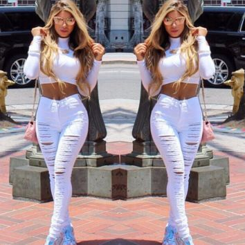 Women'S Clothing Fashion Sexy Hole Jeans