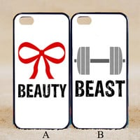 Beauty Beast Matching Pair Couple Gym Bow Weights Cute White Custom ,iPhone 6+/6/5/5S/5C/4S/4