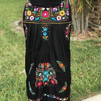 Mexican Embroidered Maxi Skirt Black